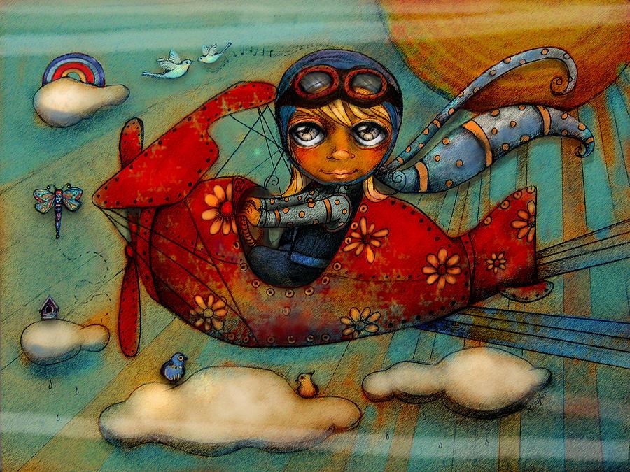 desenho de menina a pilotar avião de brincar