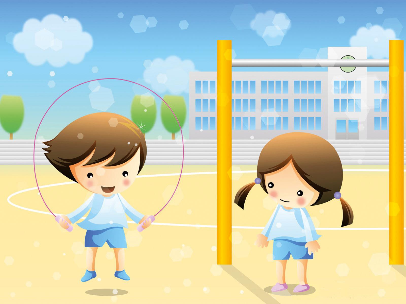 método montessori: menino e menina a salta à corda