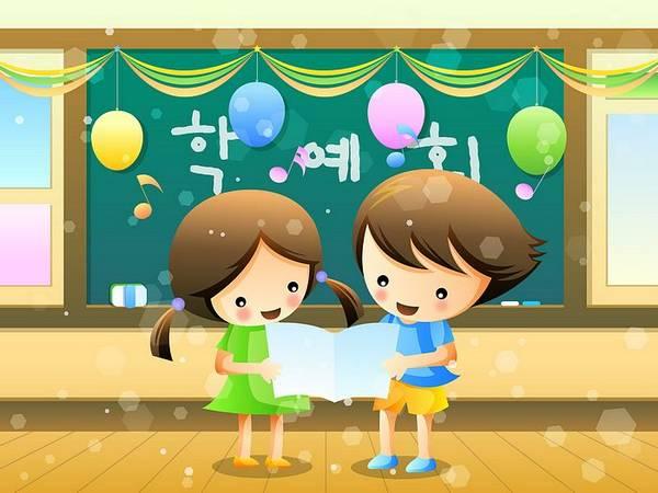Menino e menina a ler numa sala de aula