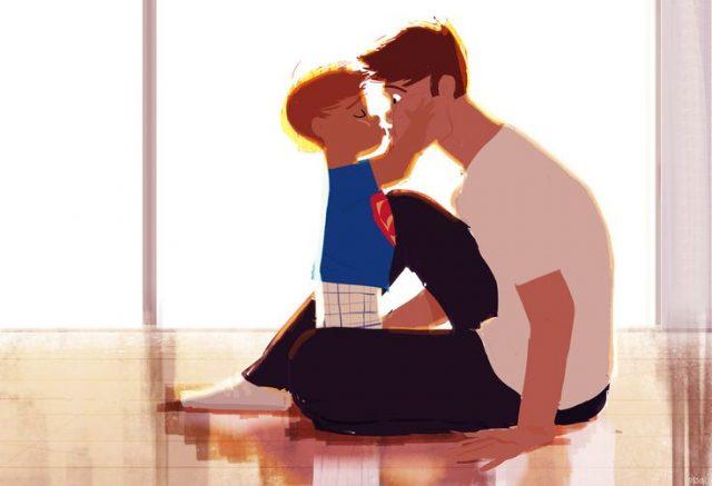 filho dá beijo ao pai